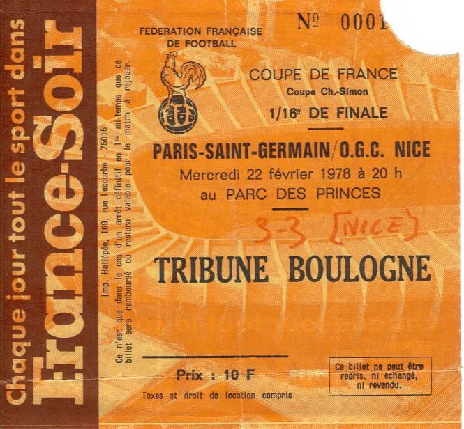 Billets coupe de france 19521953 a 19771978 ogcnicearena - Billet finale coupe de france ...